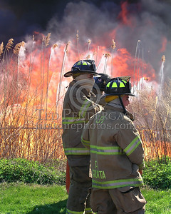 Lyndhurst NJ Firefighters Waiting For Water As The Fire Progresses Towards The Road