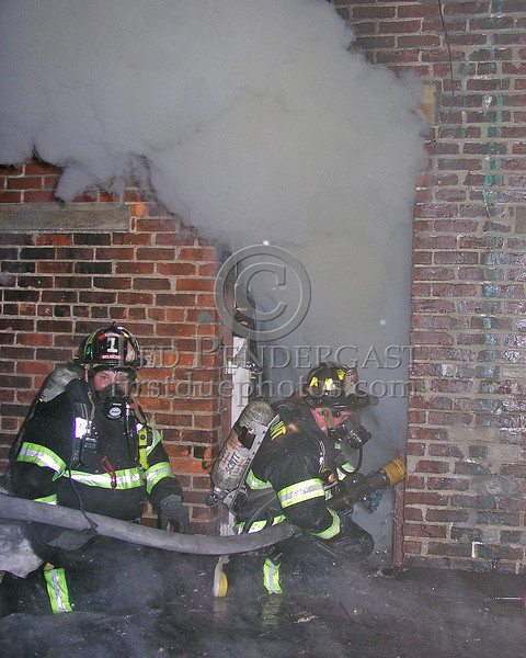 Belmont Firefighter Charlie Foote Backs Up Lt Eddie Corsino On A Big Line In The Rear Alley