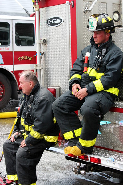 Lawrence Firefighters rehab at the fire
