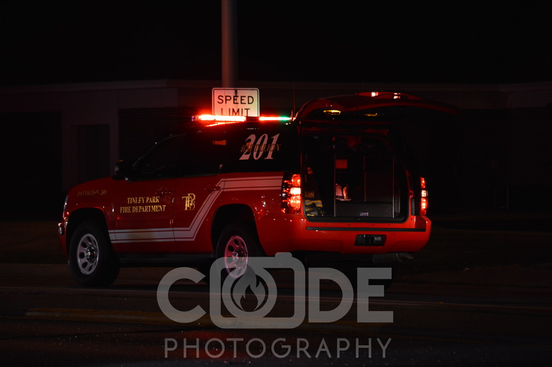 Tinley Park Fire Department on scene of a vehicle vs pedestrian.