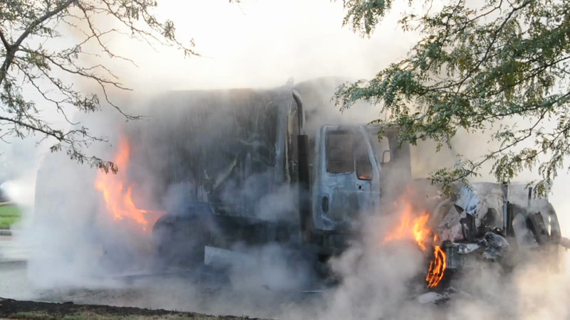 Massapequa F.D. Garbage Truck Fire I/F/O 5 West End Ave. 8/17/12