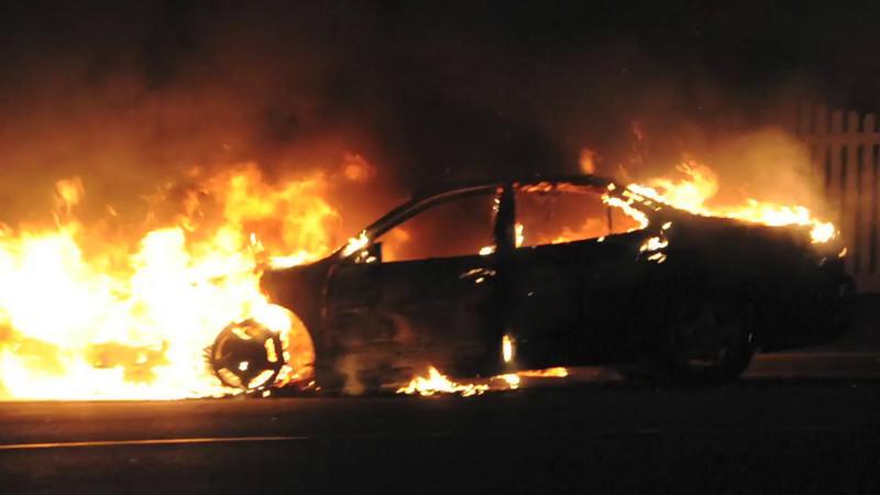 Massapequa F.D. Car Fire Sunrise Hwy. and Louden Ave. 3/21/14