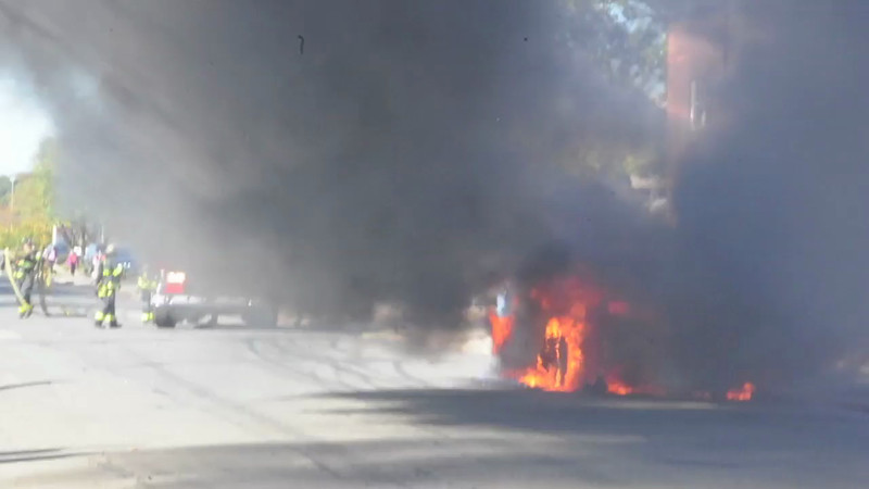 Massapequa F.D. Car Fire on East Chestnut St. 10/20/13