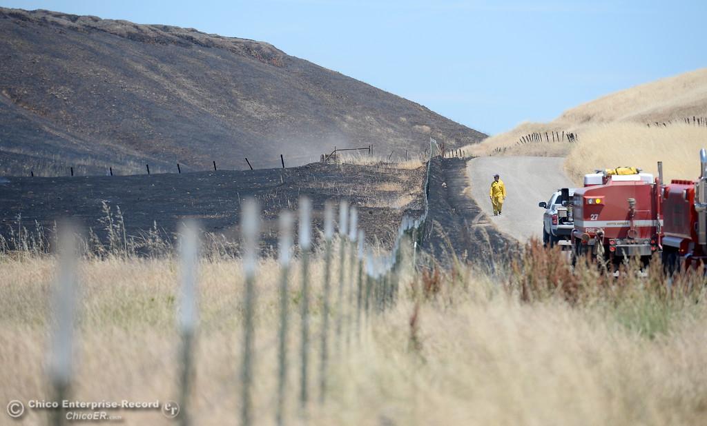. A firefighter walks beside a burned area along Nelson Road in Oroville, Calif. Tues. June 6, 2017. (Bill Husa -- Enterprise-Record)