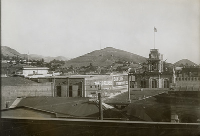 View of Terrace Hill over San Luis Obispo rooftops, circa 1920. #01.01.1070