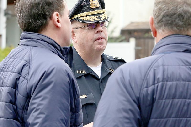 Leominster Interim Police Chief Michael Goldman addresses the press after a standoff and blaze at 8 Eden Glen St. in Leominster on Monday, Oct. 16, 2017. SENTINEL & ENTERPRISE / JOHN LOVE