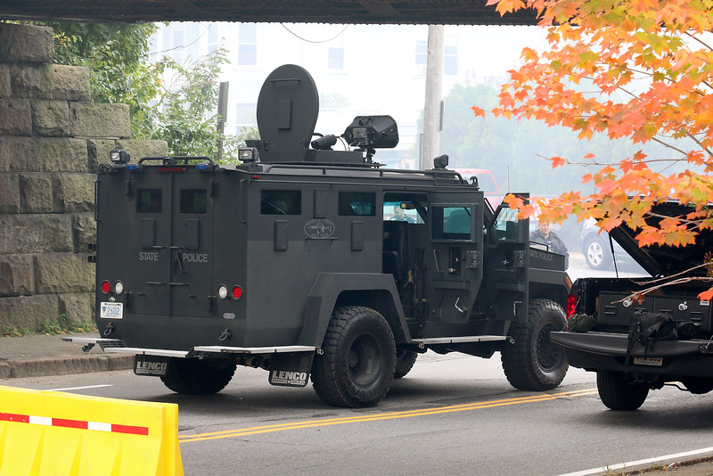 A State Police tactical unit on scene at standoff and blaze at 8 Eden Glen Street in Leominster on Monday, Oct. 16, 2017. SENTINEL & ENTERPRISE / JOHN LOVE