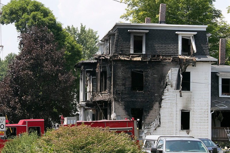 A fire broke out at 50 Main Street in Pepperell at round 8:30 am arcoss the street from Dunkin Donuts on Tuesday, July 30, 2019. SENTINEL & ENTERPRISE/JOHN LOVE