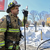 A fire broke out at the Sunoco station on Route 13 in Leominster early on Thursday morning. Sterling Fire Lt. Tom Kokernak takes a break from fighting the fire. SENTINEL & ENTERPRISE/JOHN LOVE