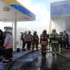A fire broke out at the Sunoco station on Route 13 in Leominster early on Thursday morning. Firefighters spray down the waiting room at the station as they fight the fire. SENTINEL & ENTERPRISE/JOHN LOVE