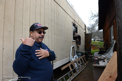 Mooretown Rancheria Fire Department Fire Chief Ray Ruiz explains Wednesday, Feb. 1, 2017, that the double-wide trailer destroyed in a fire served as office space for the department's fire captains. Other buildings including the mechanic's shed at the right were saved by the Cal Fire-Butte County, El Medio and Oroville fire departments when they arrived at the blaze around 7:45 p.m. at the unmanned station near Feather Falls Casino in Oroville, California. (Dan Reidel -- Enterprise-Record)