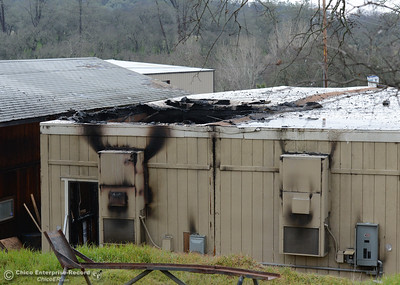 A fire destroyed a double-wide trailer at the Mooretown Rancheria Fire Department in Oroville, California. The building, seen Wednesday, JFeb. 1, 2017, was used by the department as office space for its fire captains. (Dan Reidel -- Enterprise-Record)
