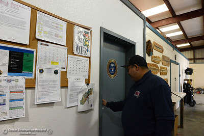 Mooretown Rancheria Fire Chief Ray Ruiz walks into his office Wednesday, Feb. 1, 2017,in the main building of the Mooretown Rancheria Fire Department which was undamaged in the fire Tuesday. A fire destroyed a double-wide trailer at the Mooretown Rancheria Fire Department in Oroville, California. (Dan Reidel -- Enterprise-Record)