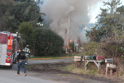 Fire crews from Blue Lake Fire Department , Arcata Fire District, Cal Fire and Humboldt Bay Fire responded to the scene. (Catherine Wong - The Times-Standard)