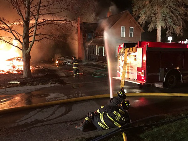 Chief Paul Doucette - Bennington Police Department Firefighters fight a blaze that claimed two homes on Grandview Street in Bennington early Friday morning. The cause is still under investigation.
