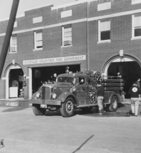 Rockville Vol. Fire Department Trucks in front of fire house