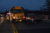 School bus accident in Center Moriches Friday, April 4, 2014. Accident occurred on the Wading River Rd overpass of Sunrise Hgwy. (Rt. 27). A spokesperson for Montauk bus Co. stated both vehicles were traveling northbound on Wading River Rd at approx. 6:00 a.m. when the driver of the Buick mini-van tried to merge into the left turn lane, cutting off the school bus. Only minor injuries were reported and there were no children on the bus