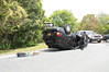Car overturns in Mastic Beach Monday, May 26, 2014. The Mastic Beach F.D., SCPD 7th Pct. units, and Suffolk County Parks Police responded at approx. 12:45 p.m. for this accident between a Jeep SUV and a Suffolk Parks unmarked police vehicle on the south bound William Floyd Pkwy. at the intersection of Trafalgar Drive. Only minor injuries were reported.