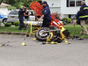 Motorcycle accident in Mastic Wednesday, June 11, 2014. Officers from the SCPD's 7th Pct., the Mastic F.D., and Mastic Volunteer Ambulance responded at approx. 2:20 p.m. when a Honda motorcycle and a Honda CRV collided at the intersection of Mastic Blvd. East and Ormond Pl. The two males on the motorcycle were able to walk away with only minor injuries and there were no reports of injuries to the occupants of the CRV.