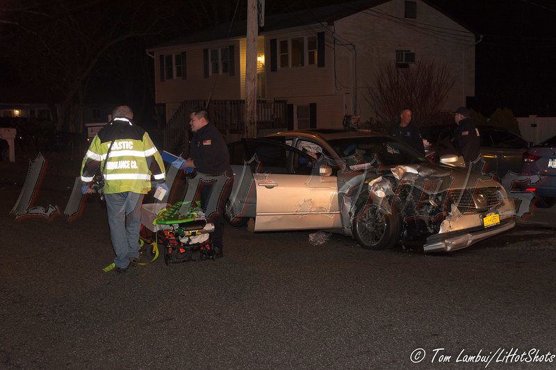 Two car MVA in Mastic Sunday, November 30, 2014. A two car MVA at the intersection of Titmus Drive and Ardmour Drive, at approx. 21:45 hrs., sent two people to a local hospital. The Mastic F.D. and Mastic Volunteer Ambulance Corp. responded to the accident which involved a Jaguar 4-dr. sedan and Nissan Maxima.