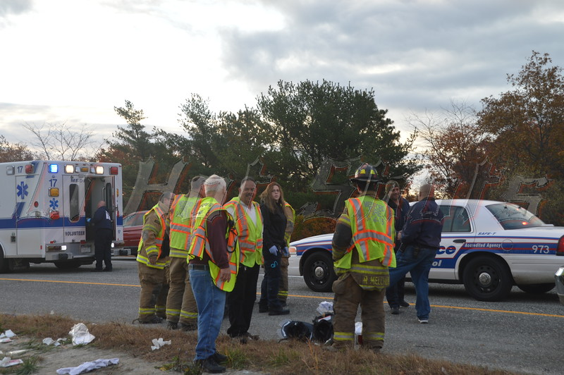 The SCPD and Medford Fire Dept. responded to this car accident in which the car overturned reportedly ejecting one occupant. The accident occurred on the east bound LIE just east of exit 64 (Rt. 112) on Sunday 11/03/2013 at approx. 6:45a.m. At least two people were injured and transported to local hospitals for treatment.