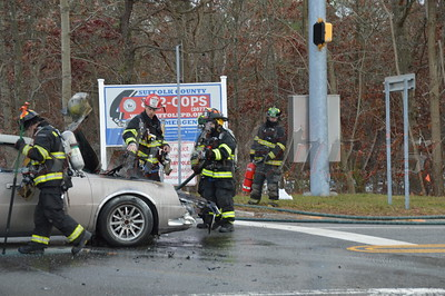 Accident occurred on 11/23/2013 at approx. 15:30 hrs. on the William Floyd Pkwy. south bound. and the entrance to the SCPD 7th Pct. SCPD officers and the Ridge FD responded to this accident. The driver of the Cadillac took off on foot after rear ending another car. Minor injuries were reported to the other driver. SCPD K-9 units were searching the area for the driver who fled the scene