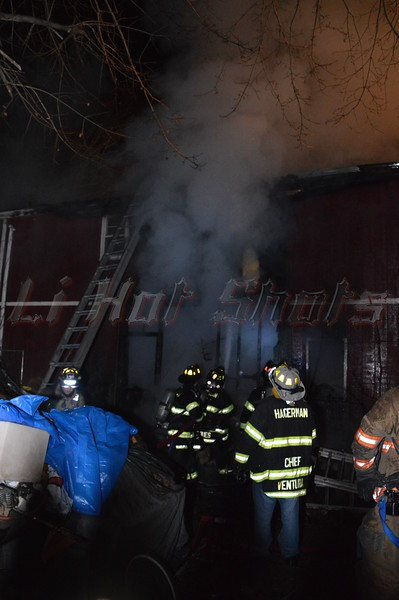On 12/02/2013 at approx. 23:50 hrs. the Hagerman F.D. & SCPD was notified of this structure fire located at 187 Orchard Rd. in East Patchogue, Long Island, New York. The fire was located in a garage, which had an apartment on the second floor, to the rear of the residence. While responding to the scene, units were advised that there was oxygen and acetylene cylinders being stored in the garage, and at least one explosion was heard during the early stages of the fire. Units were met with an advanced fire condition upon arrival and were able to make quick work of the blaze and knock it down saving most of the garage.