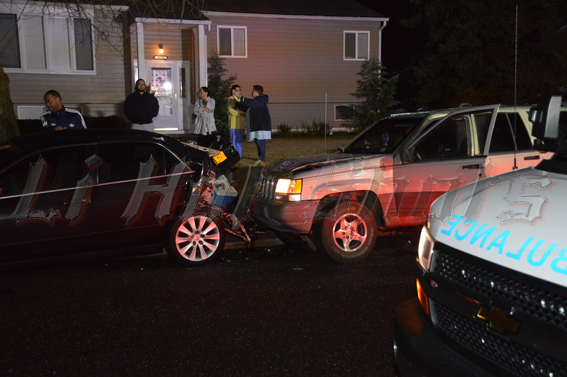 Early on Tues. morning 12/10/2013 at approx. 12:30a.m. the SCPD, Medford F.D., & Medford EMS responded to this car accident in front of 3015 Eagle Ave. Medford. The woman operating the Jeep, north bound on Eagle Ave., was seriously injured after crashing into the parked car. She was transported to a local hosp. with severe head trauma.