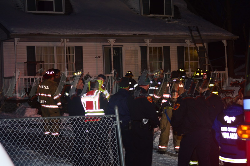 Firefighters on scene of a house fire in Bellport Sun. Feb. 16, 2014. Firefighters from the Bellport and Hagerman fire departments extinguished a fire that occurred in a second floor rear bedroom in a house at 847 Bellport Ave. at approx. 5:15 p.m. There were no injuries reported at this time.