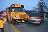04/04/2014 06:00 hrs Ctr. Moriches MVA-Lambui : School bus accident in Center Moriches Friday, April 4, 2014.  The Center Moriches F.D. and SCPD responded when this accident occurred on the Wading River Rd overpass of Sunrise Hgwy. (Rt. 27). A spokesperson for Montauk bus Co. stated both vehicles were traveling northbound on Wading River Rd at approx. 6:00 a.m. when the driver of the Buick mini-van tried to merge into the left turn lane, cutting off the school bus. Only minor injuries were reported and there were no children on the bus.
