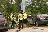 Six car accident snarls traffic in Bohemia Wednesday, June 25, 2014. At approx. 11:15 a.m. the Bohemia F.D., Community Ambulance Co. Volunteers, and officers from SCPD's 5th Pct. responded to a six car accident at the intersection of Sunrise Hwy. North Service Rd. and Lakeland Ave. As per F.D. officials on scene, three people were injured and required transportation to local hospitals via ambulance. South bound Lakeland Ave. and West bound service road traffic had to be detoured for approx. one hour until the scene was cleared.