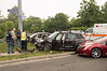 06/25/2014 11:15 hrs. Bohemia MVA-Lambui : Six car accident snarls traffic in Bohemia Wednesday, June 25, 2014.  At approx. 11:15 a.m. the Bohemia F.D., Community Ambulance Co. Volunteers, and officers from SCPD's 5th Pct. responded to a six car accident at the intersection of Sunrise Hwy. North Service Rd. and Lakeland Ave. As per F.D. officials on scene, three people were injured and required transportation to local hospitals via ambulance. South bound Lakeland Ave. and West bound service road traffic had to be detoured for approx. one hour until the scene was cleared.