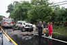 07/04/2014 16:00 hrs. Brookhaven MVA-Lambui : SUV takes down telephone pole in Brookhaven Friday, July 4, 2014.  The driver of a Ford SUV lost control while traveling east bound on Montauk Hwy., near Shoestring Lane, at approx. 4:00 p.m. and struck a telephone pole shearing it off of it's base. The driver and his two passengers were being evaluated by South Country Ambulance. The Brookhaven F.D. and officers from SCPD's 7th Pct. also responded. Traffic in both directions will be tied up for hours while repairs are made to the poles and wires.