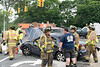 Two car accident in Mastic Saturday, August 2, 2014. Seven people were injured, some seriously, in a collision between a Mercury Marque and a Chrysler mini-van. The accident happened at the intersection of William Floyd Parkway and Roberts Road in the Shirley/Mastic area at approx. 5:15 p.m. Some of the injured were taken to Brookhaven Memorial Hospital while the more seriously injured were taken to Stony Brook University Hospital. The SCPD 7th Pct., Mastic F.D. and Shirley Community Ambulance were originally called to the scene and needed to request assistance from Mastic Beach Ambulance and Mastic Volunteer Ambulance to help transport the numerous injured.