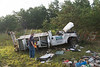 "Overturned truck on Sunrise Hwy. in Eastport Tuesday, August 12, 2014. The driver of a Ford F-350 was injured when his truck overturned at approx. 7:00 a.m. while traveling east bound on Sunrise Hwy. (Rt. 27) about a 1/2 mile west of exit 63 (Old Riverhead Road). Under the direction of Chief William Weick (05-08-30) firefighters from the Eastport F.D. and officers from the SCPD ESU worked together using the ""Jaws of Life"" to extricate the driver from his vehicle. The driver was transported to the hospital by ambulance with undisclosed injuries. One lane was closed and east bound traffic on Sunrise Hwy. was backed up for almost three miles."