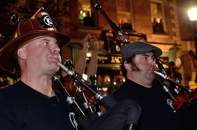 The massed band plays in the streets of downtown Colorado Springs the night before the 2013 IAFF Fallen FF Memorial.
