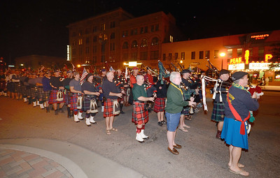 The massed band marches through the streets of downtown Colorado Springs the night before the 2013 IAFF Fallen FF Memorial.
