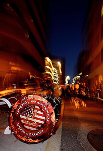 A drum sits waiting as the massed band prepares to march through the streets of Colorado Springs.