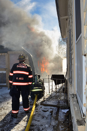 Gardner FFs operate at a 2nd Alm garage fire at 16f High St on Dec 30 2013. FFs from Westminster and Hubbardston assisted at the scene.