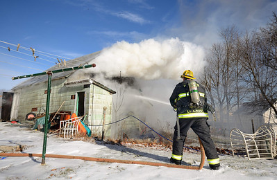 Gardner FFs operate at a 2nd Alm garage fire at 165 High St on Dec 30 2013. FFs from Hubbardston and Westminster also assisted at the scene.