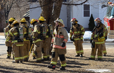 Erving and New Salem Mass FFs stand by at a 2nd Alm fire on Burrill Ave in Orange, Mass. One dog was rescued from the house.