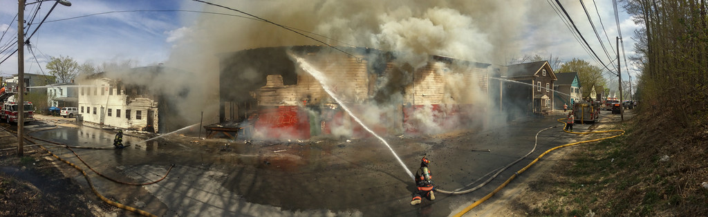 A panorama during the early stages of the 6 Alm fire on Sherman St.
