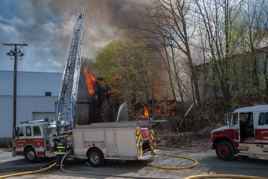 Gardner and Ashburnham get water on the rear of the building, protecting New England Wooden Ware.