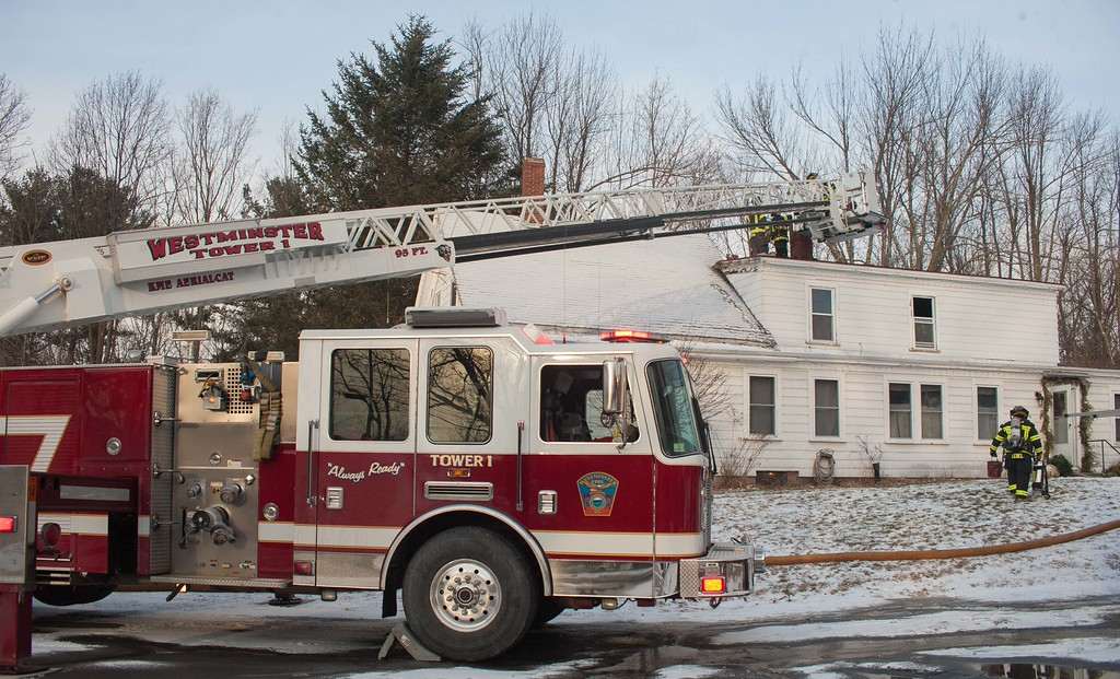Westminster FFs at work on a chimney fire on East Rd.