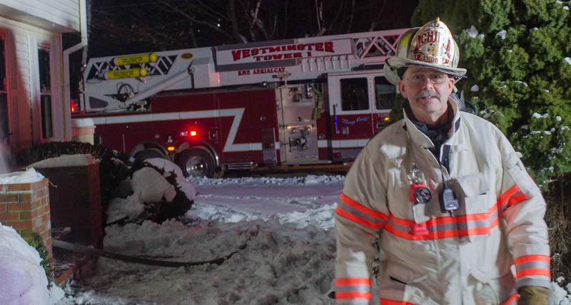 Gardner Fire Chief Dick Ares at the 2nd Alm on Hy Rd Westminster.