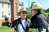 Gardner Acting Chief Dick Ares (left) confers with Acting Capt Greg Lagoy (right) during a Working Fire at Heywood Hospital Annex on Matthews St. SENTINEL&ENTERPRISE/ Jim Marabello