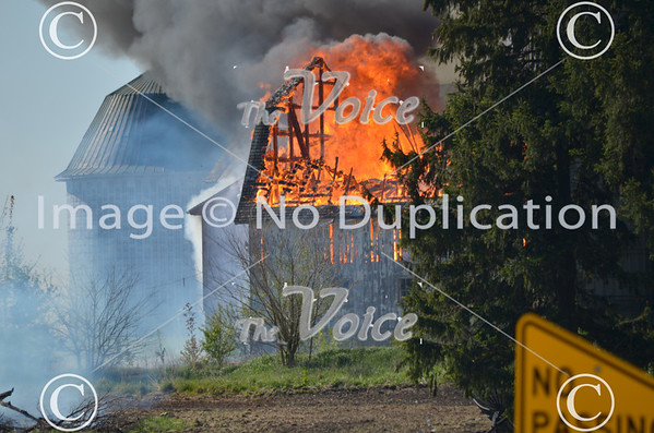 Lily Lake, IL barn fire on Rt. 47  4-23-12