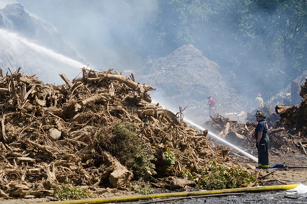 Mulch fire in Shirley