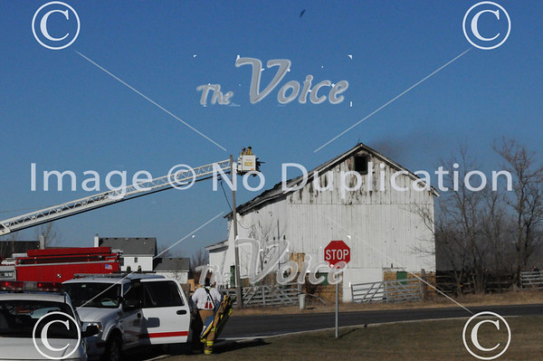 North Aurora, IL barn roof tear down after fire on Butterfield Road 1-9-12