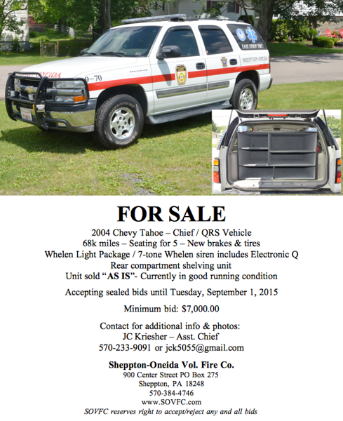 SOVFC Chevy Tahoe For Sale